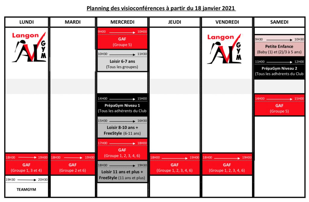 Planning des cours en visio à partir du 18 janvier 2021